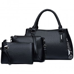 Women Commute Handbag Set with Tote Bag Wallet in Black/Red/Blue/White