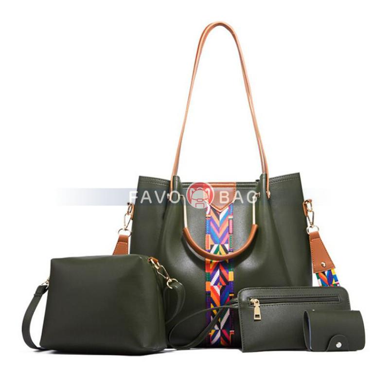 4 Pack Women PU Leather Handbag Set Soft Top Handle Bags Tote Bag Wallet Purse