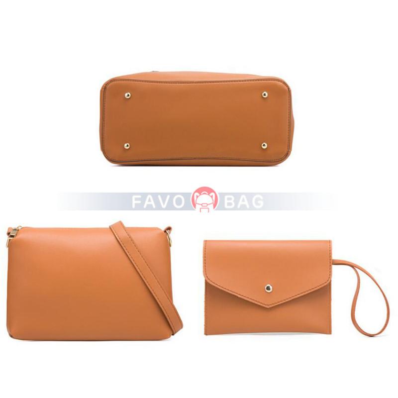 Women's Bags PU Leather Shoulder Strap Bag Set 3 Pcs Purse