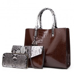 Genuine Leather Handbags for Women Snake Skin Pattern Top-handle Bag Tote Bag Wallet