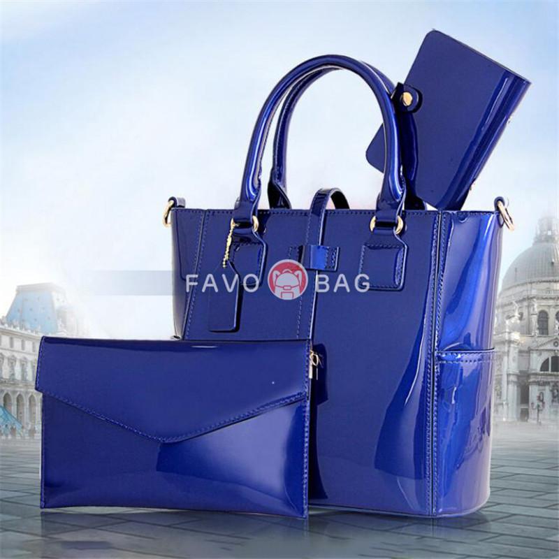 Women's 3pcs Handbags Patent Leather Shoulder Bag Large Capacity Tote Bag