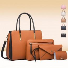 4 Pics Hangbag Set for Women Color Matching Design One Shoulder Bag Crossbody Bag Wallet