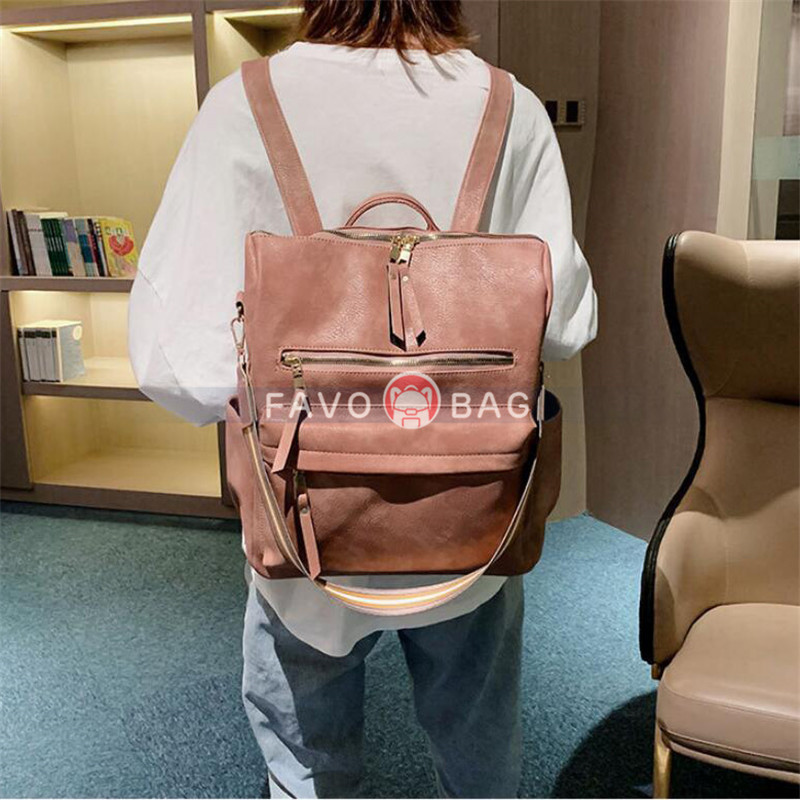 Young Women PU Backpack 19 Inches Large Capacity Student Bag