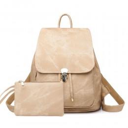 Women Tote PU Backpack Set Vintage 2 Pack Shoulder Bag with Coin Purse