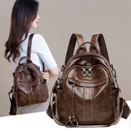 Multipurpose PU Backpack for Women Leisure One-shoulder Bag Handbag