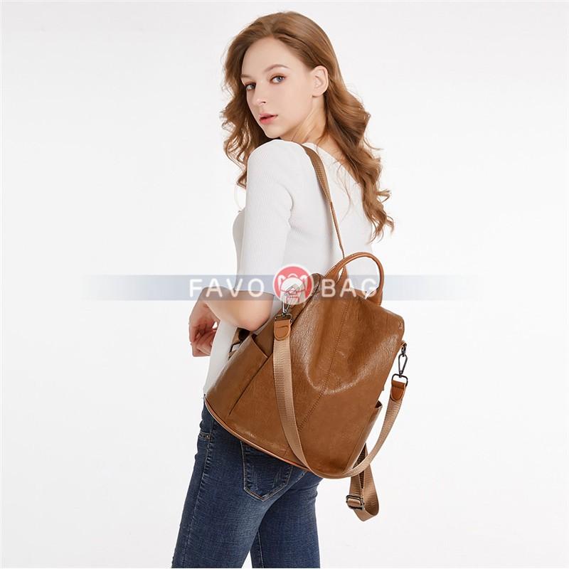 Women Backpack Purse Waterproof Pu Anti-theft Rucksack Lightweight Shoulder Bag