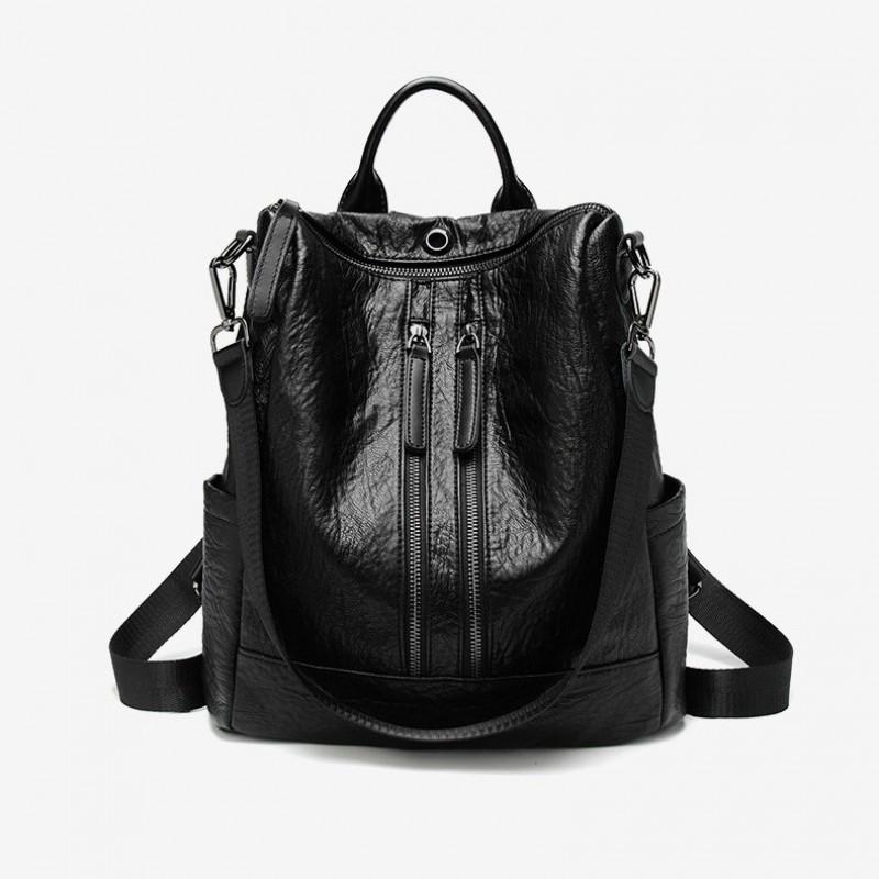 Women PU Backpack Double Zippers Travel Handbag