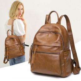 Large Capacity Women PU Leather Backpack Soft Anti-theft Travel Shoulder Bag Handbag