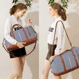 Women Travel Duffel Weekender Shoulder Tote Bag Canvas PU Leather